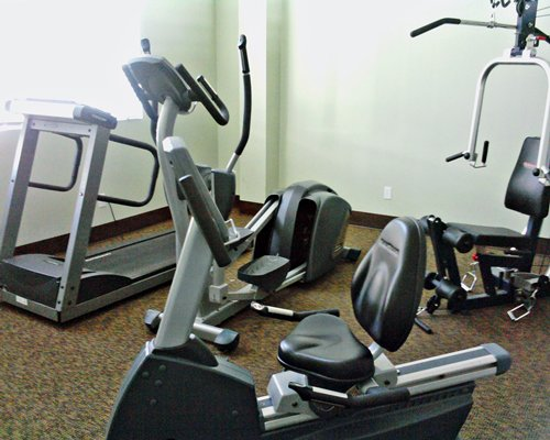 A well furnished fitness center.