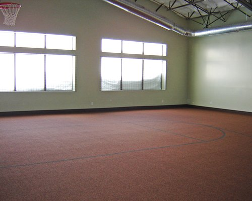 An indoor basketball court.