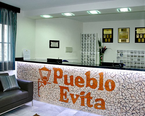 The reception area of Pueblo Evita Club resort.