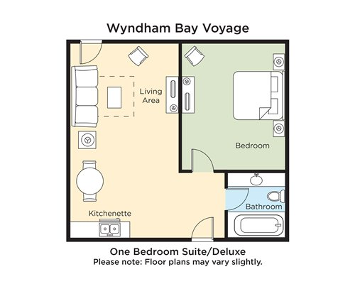 A floor plan of one bedroom Suite Deluxe.