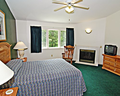 A well furnished bedroom with a queen bed television and fireplace.