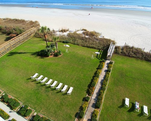 An aerial view of the pathway with chaise lounge chairs alongside the beach.