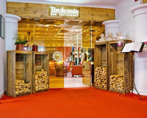 Entrance of Tirolensis resort's bar and restaurant.