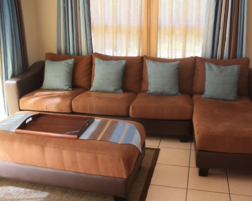 A living room with pull out sofa.