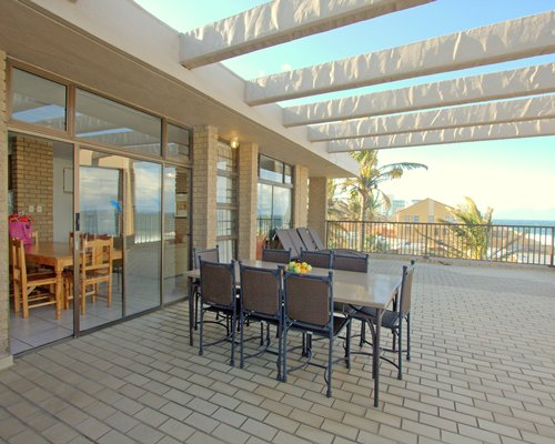 Balcony with patio furniture.