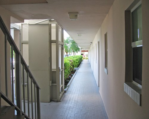 A view of the resort corridor with staircase.