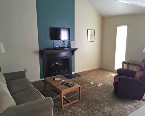 A well furnished living room with a television and a fireplace.