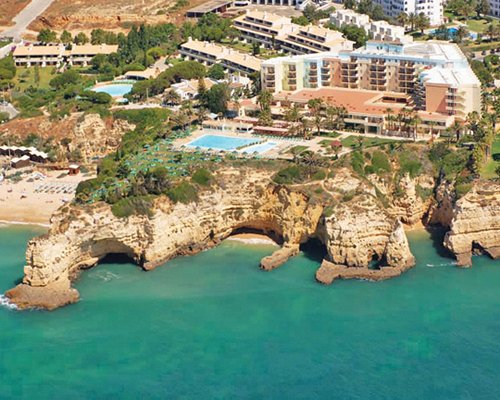An aerial view of the Pestana Viking Hotel alongside the cliffs.