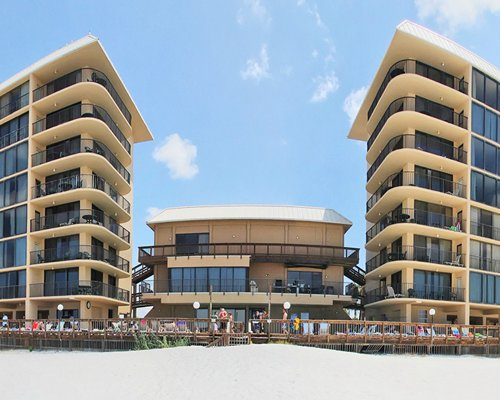 Exterior view of Ocean Towers Beach Club with multiple balconies.