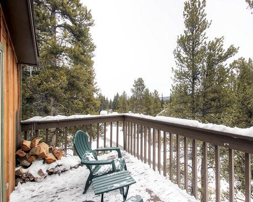 A balcony view of patio furniture alongside pine trees covered in snow.