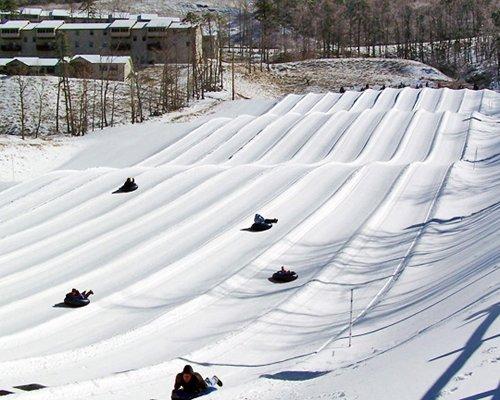 People snow rafting downhill at Massanutten's Shenandoah Villas.