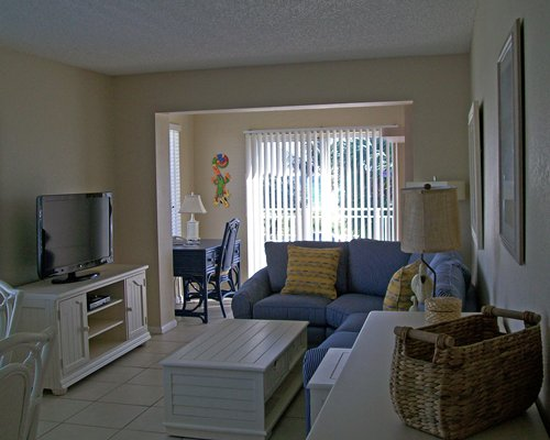 A well furnished living room with the television.