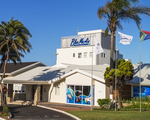 Exterior view and pathway to The Blue Marlin.
