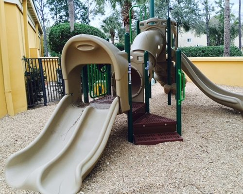 Kids play area with double slide.