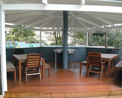 A view of an outdoor dining area.
