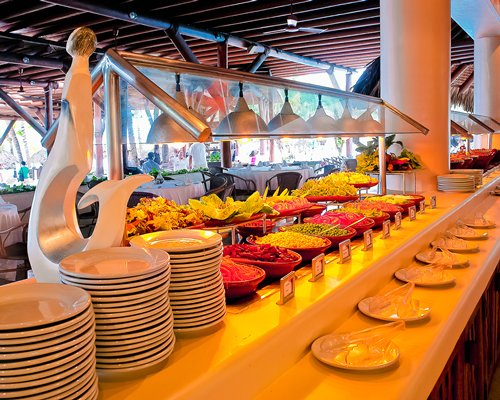 An indoor buffet at a restaurant.