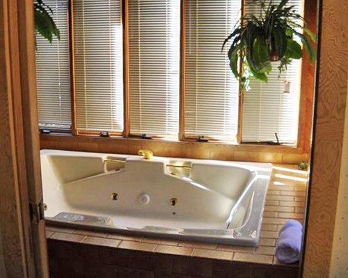 An indoor bathtub.