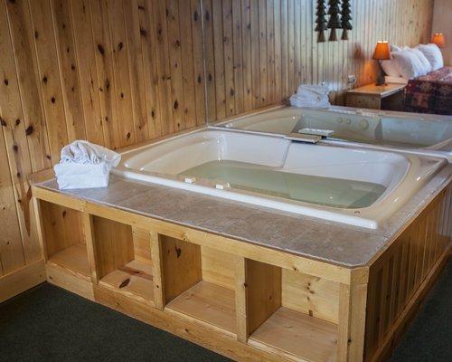 Bedroom with bathtub.