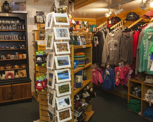 A well stocked indoor gift shop.