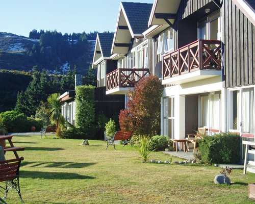 Scenic exterior view of multiple units with balconies at Mount Hutt Lodge.