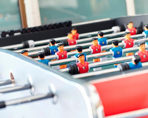 A foosball table.