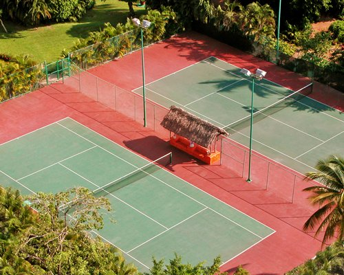 An aerial view of two badminton courts.