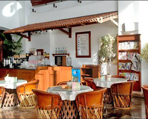 An indoor restaurant of The Palms Resort of Mazatlan resort.