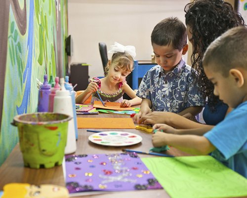 Children painting.