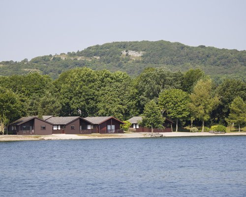View of the lake alongside units surrounded by wooded area.