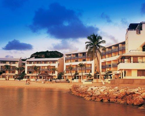 A beach view of the Flamingo Beach Resort.