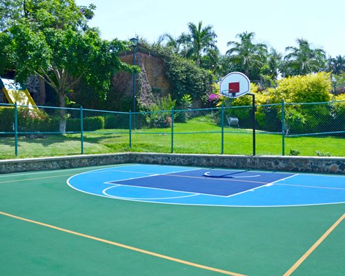 An outdoor basketball court.