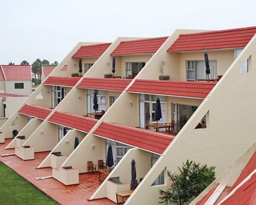 A scenic view of the multi story units of the resort.