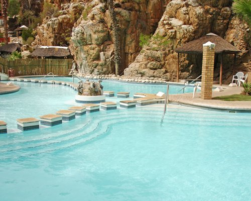 An outdoor large swimming pool.