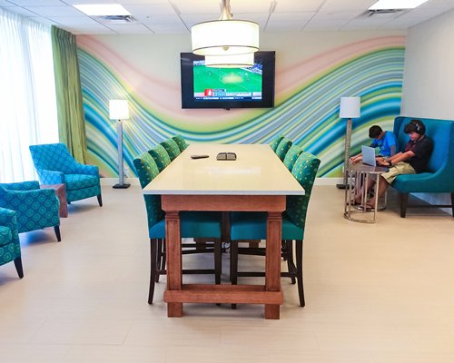 Conference room with a television.
