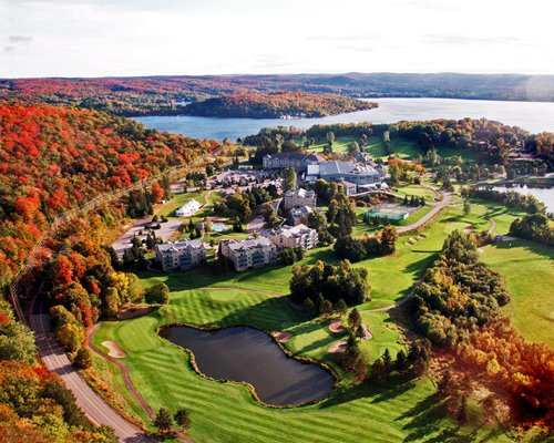 An aerial view of Birchcliff Villas At Deerhurst Resort.
