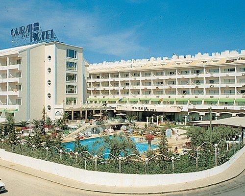 An exterior view of the Luna Hotel Da Oura resort properties.