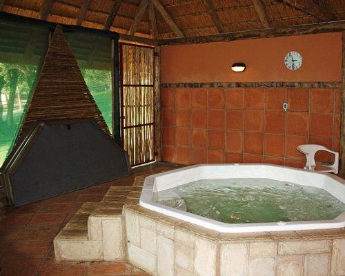 An indoor hot tub.