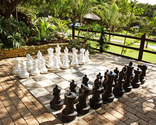 Large outdoor chess board.
