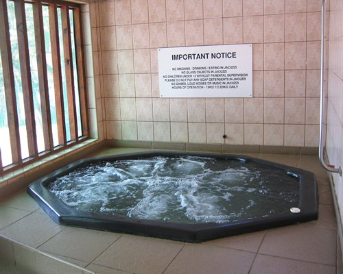 An indoor hot tub.