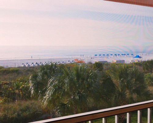 A balcony view of the beach.