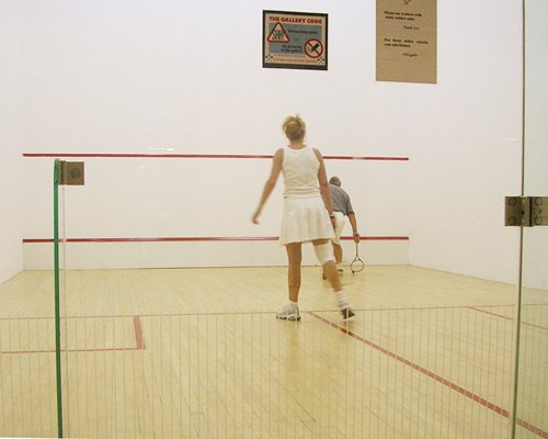View of two people playing squash game.