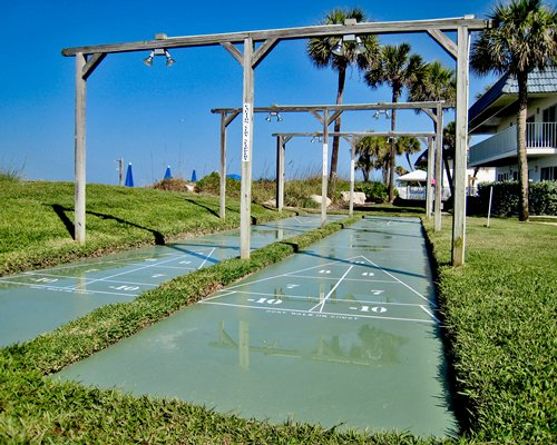 Recreation area with shuffle boards.