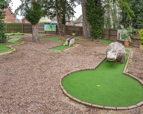 A mini golf course putting green.
