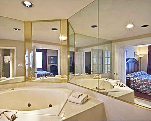 A view of an indoor hot tub.