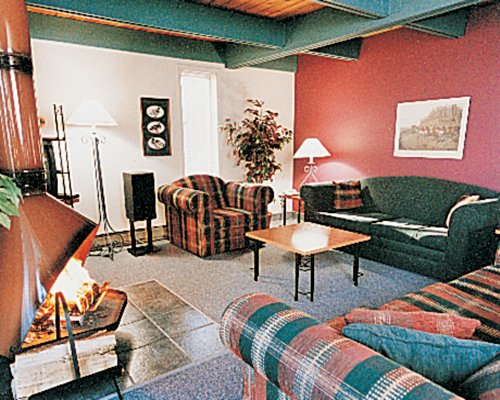 A well furnished living room with fire in the fireplace.
