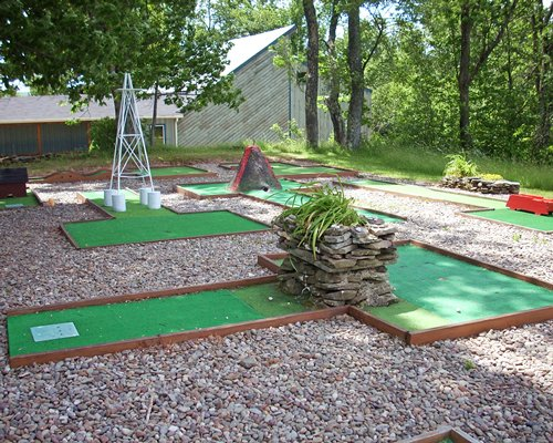 Outdoor recreation area with putt putt golf course.