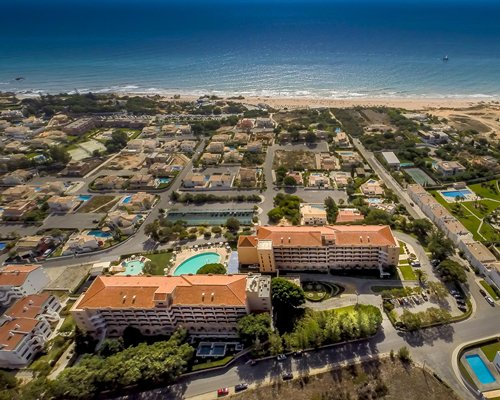 An aerial view of the swimming pools at the Vila Gale Atlantico Hotel.