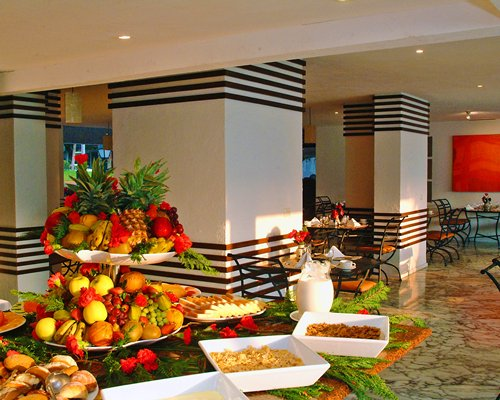 An indoor fine dining area with the buffet.