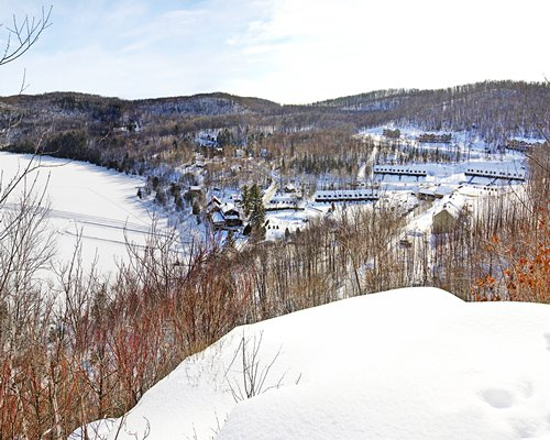 An exterior view of the resort properties covered in snow with pine trees.