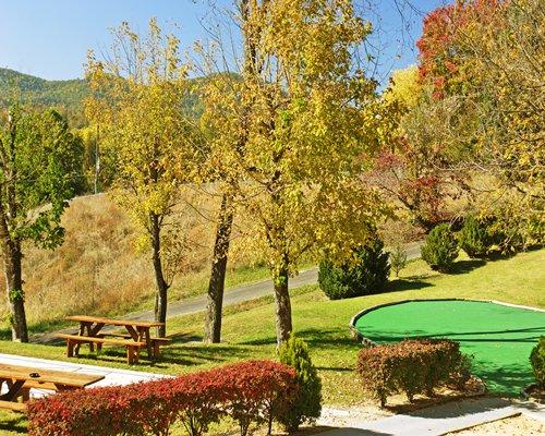 Scenic picnic area with golf miniature.